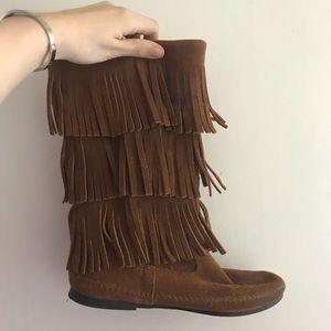 Minnetonka brown fringe boots